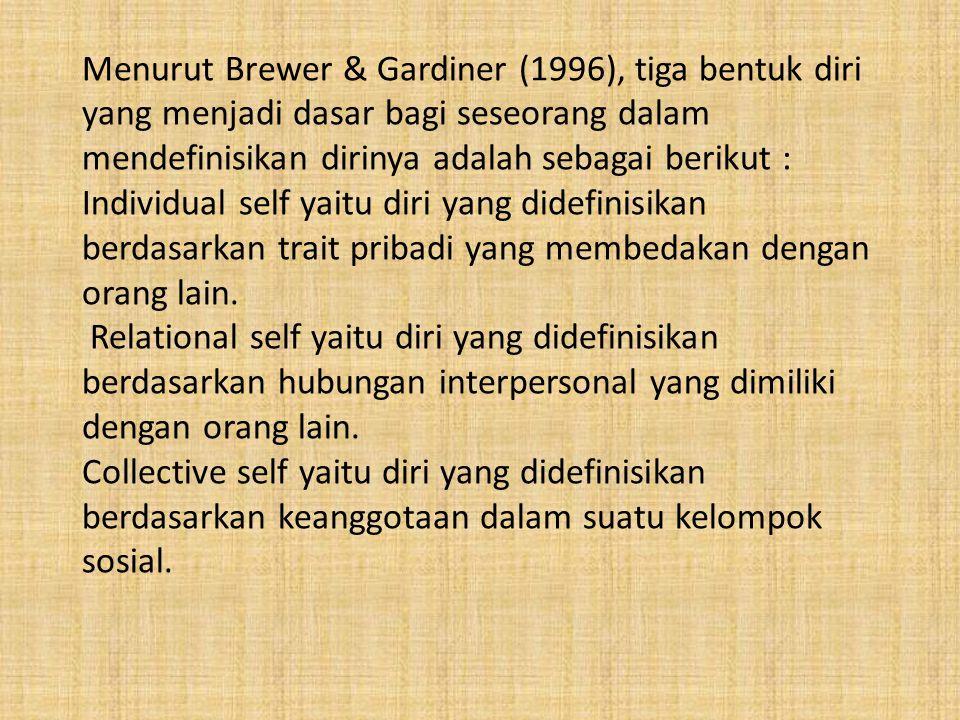 Menurut Brewer & Gardiner (1996), tiga bentuk diri yang menjadi dasar bagi seseorang dalam mendefinisikan dirinya adalah sebagai berikut : Individual self yaitu diri yang didefinisikan berdasarkan trait pribadi yang membedakan dengan orang lain.