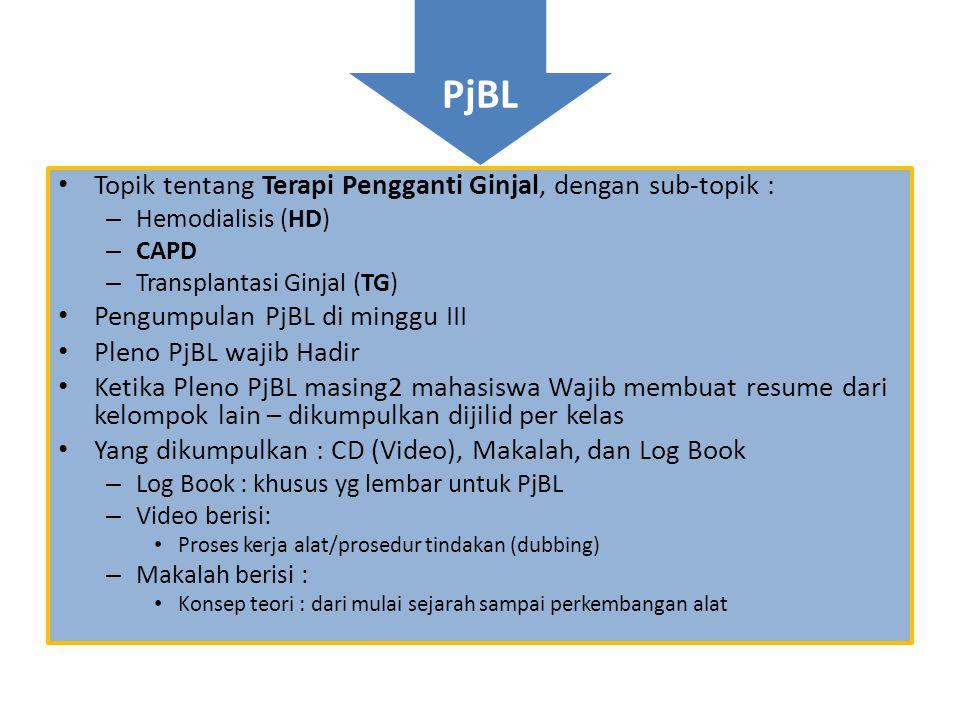 PjBL Topik tentang Terapi Pengganti Ginjal, dengan sub-topik :