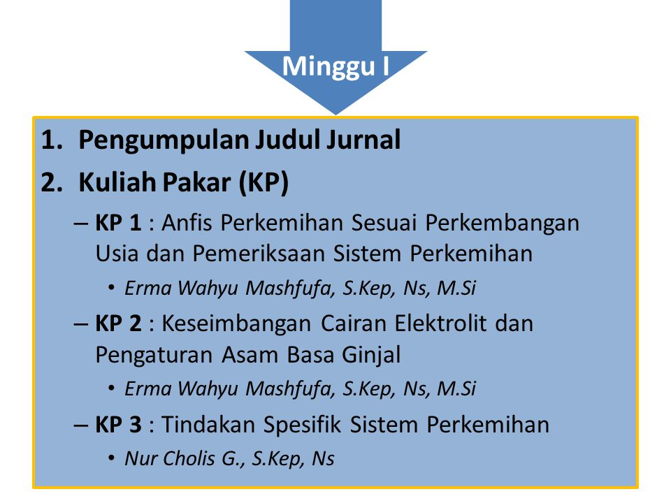 Pengumpulan Judul Jurnal Kuliah Pakar (KP)