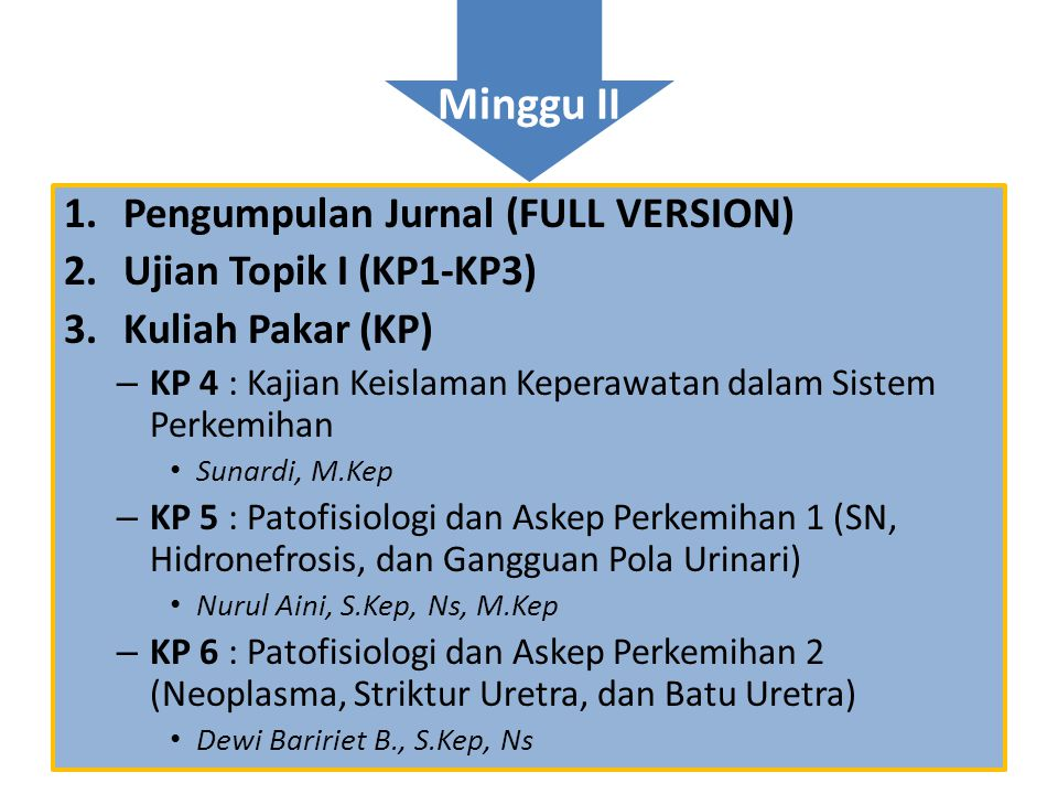 Minggu II Pengumpulan Jurnal (FULL VERSION) Ujian Topik I (KP1-KP3)
