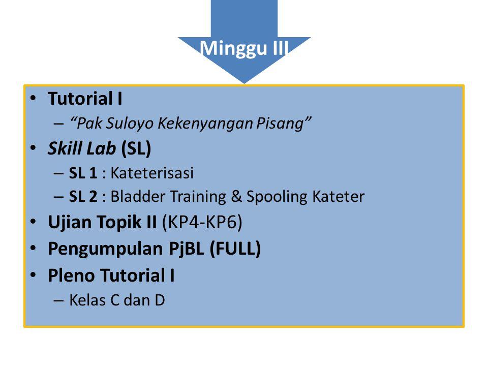 Minggu III Tutorial I Skill Lab (SL) Ujian Topik II (KP4-KP6)