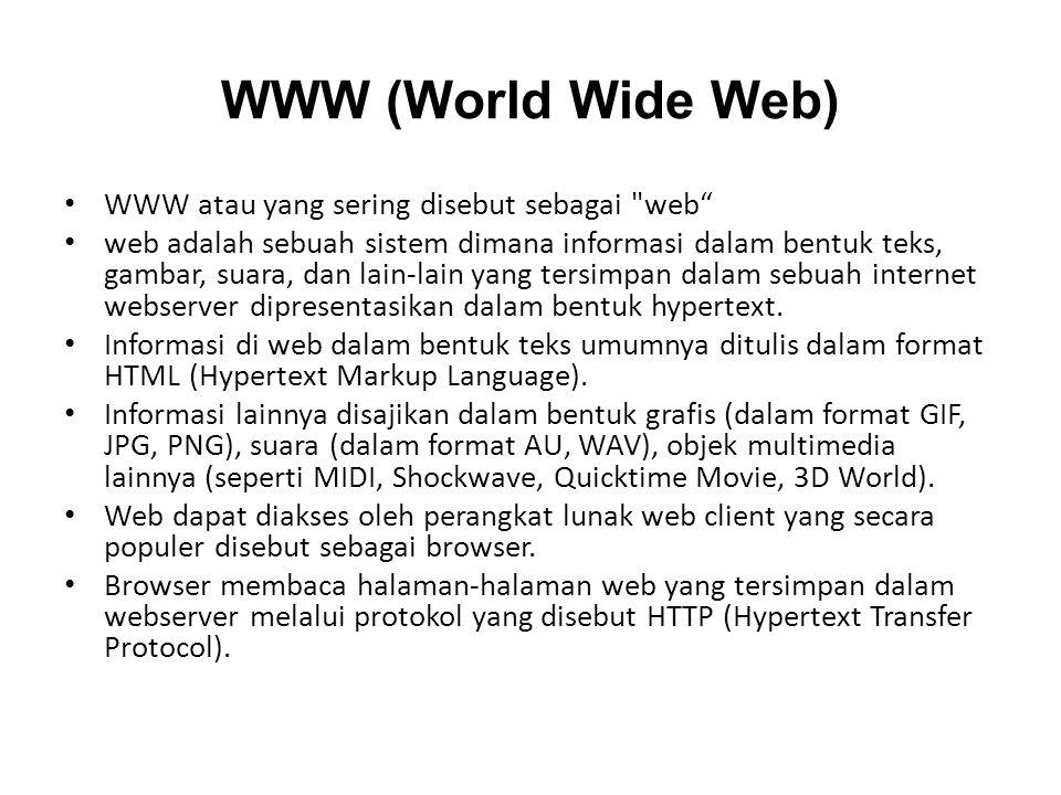 WWW (World Wide Web) WWW atau yang sering disebut sebagai web