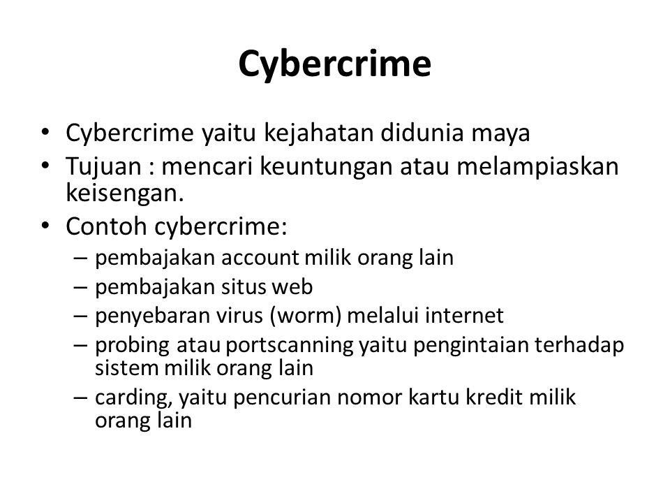 Cybercrime Cybercrime yaitu kejahatan didunia maya