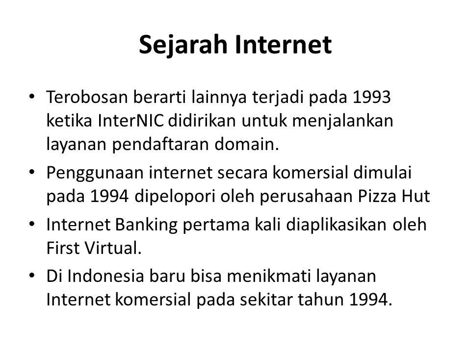 Sejarah Internet Terobosan berarti lainnya terjadi pada 1993 ketika InterNIC didirikan untuk menjalankan layanan pendaftaran domain.