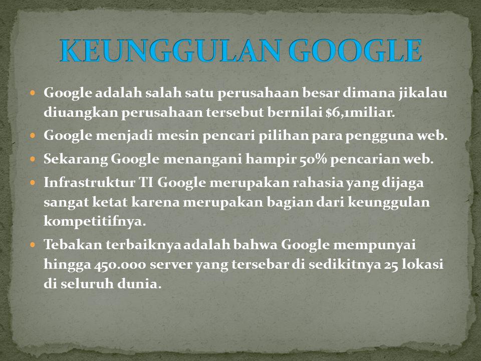 KEUNGGULAN GOOGLE Google adalah salah satu perusahaan besar dimana jikalau diuangkan perusahaan tersebut bernilai $6,1miliar.