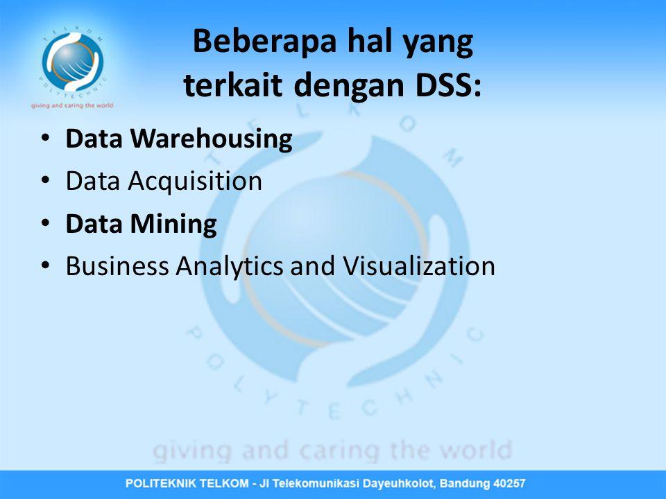Beberapa hal yang terkait dengan DSS: