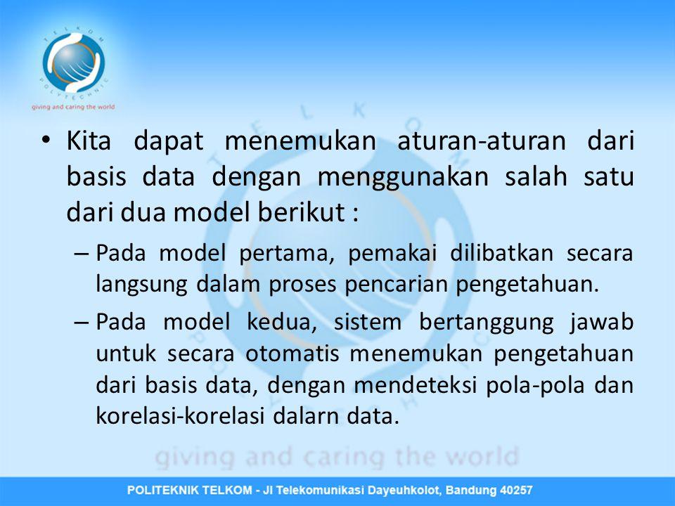 Kita dapat menemukan aturan-aturan dari basis data dengan menggunakan salah satu dari dua model berikut :