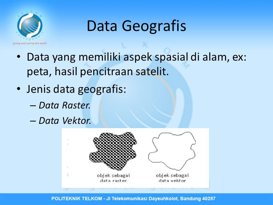 Data Geografis Data yang memiliki aspek spasial di alam, ex: peta, hasil pencitraan satelit. Jenis data geografis: