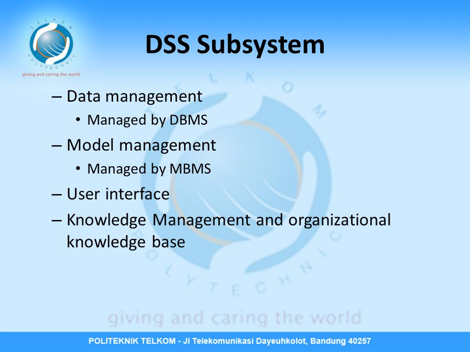 DSS Subsystem Data management Model management User interface