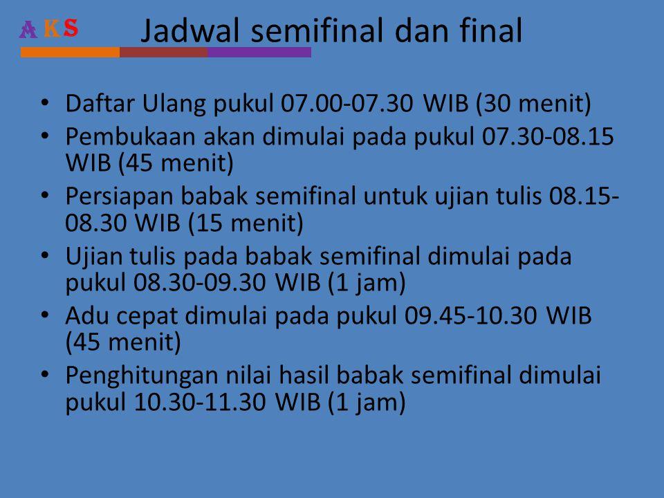 Jadwal semifinal dan final