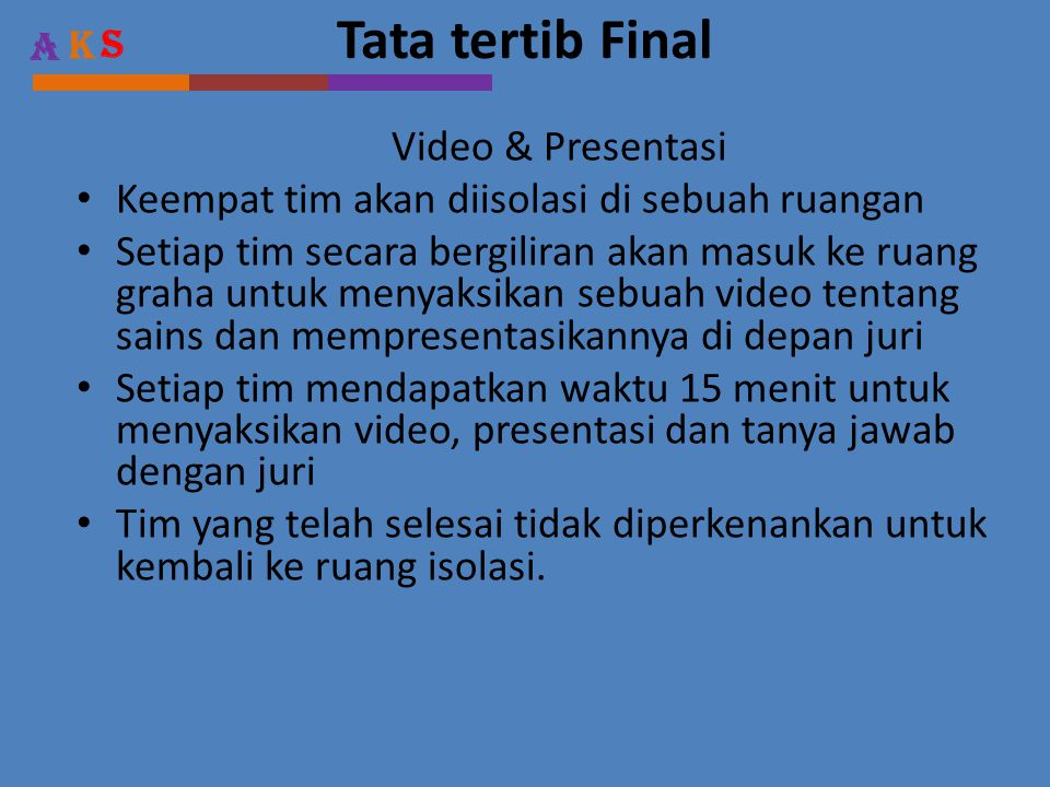 Tata tertib Final Video & Presentasi