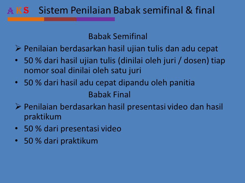 Sistem Penilaian Babak semifinal & final