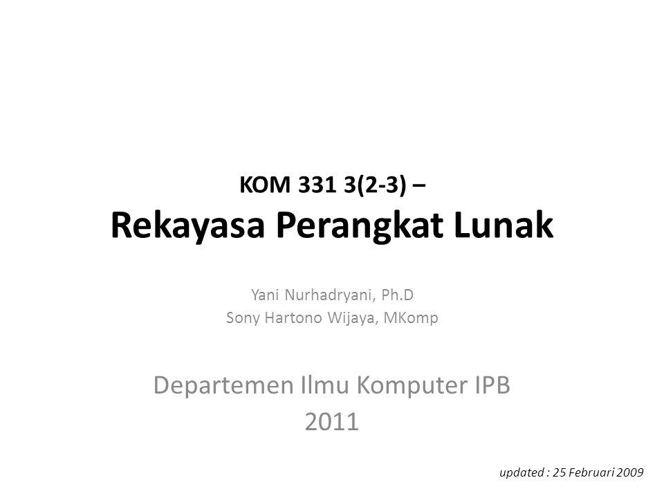 KOM 331 3(2-3) – Rekayasa Perangkat Lunak