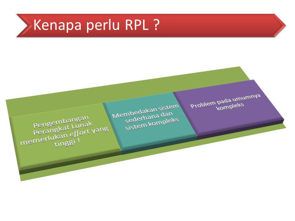 Kenapa perlu RPL Pengembangan Perangkat Lunak memerlukan effort yang tinggi ! Membedakan sistem sederhana dan sistem kompleks.
