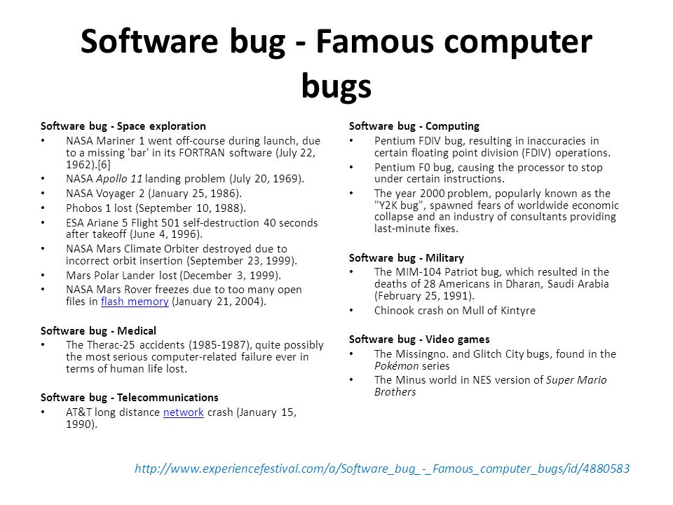 Software bug - Famous computer bugs