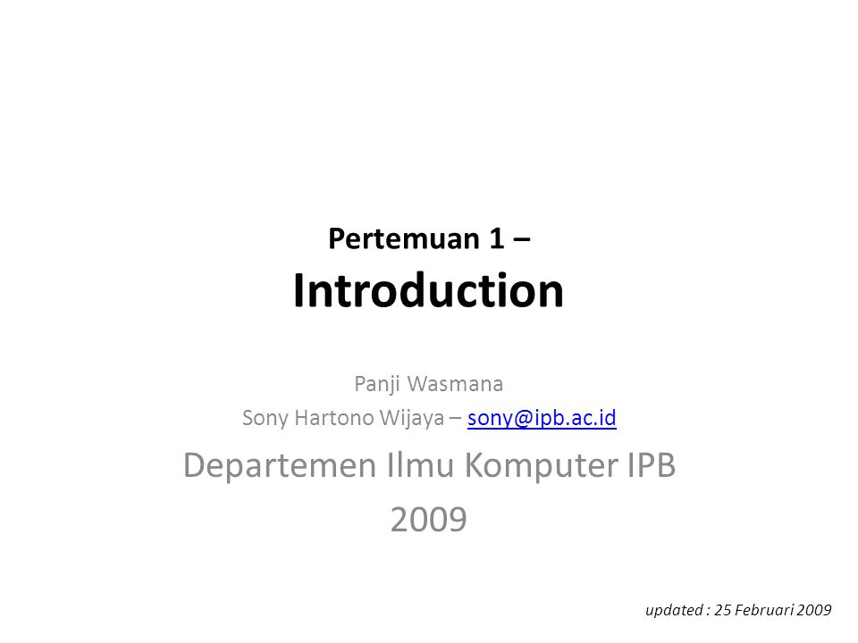 Pertemuan 1 – Introduction