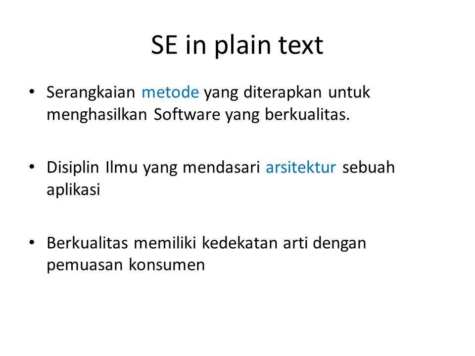 SE in plain text Serangkaian metode yang diterapkan untuk menghasilkan Software yang berkualitas.