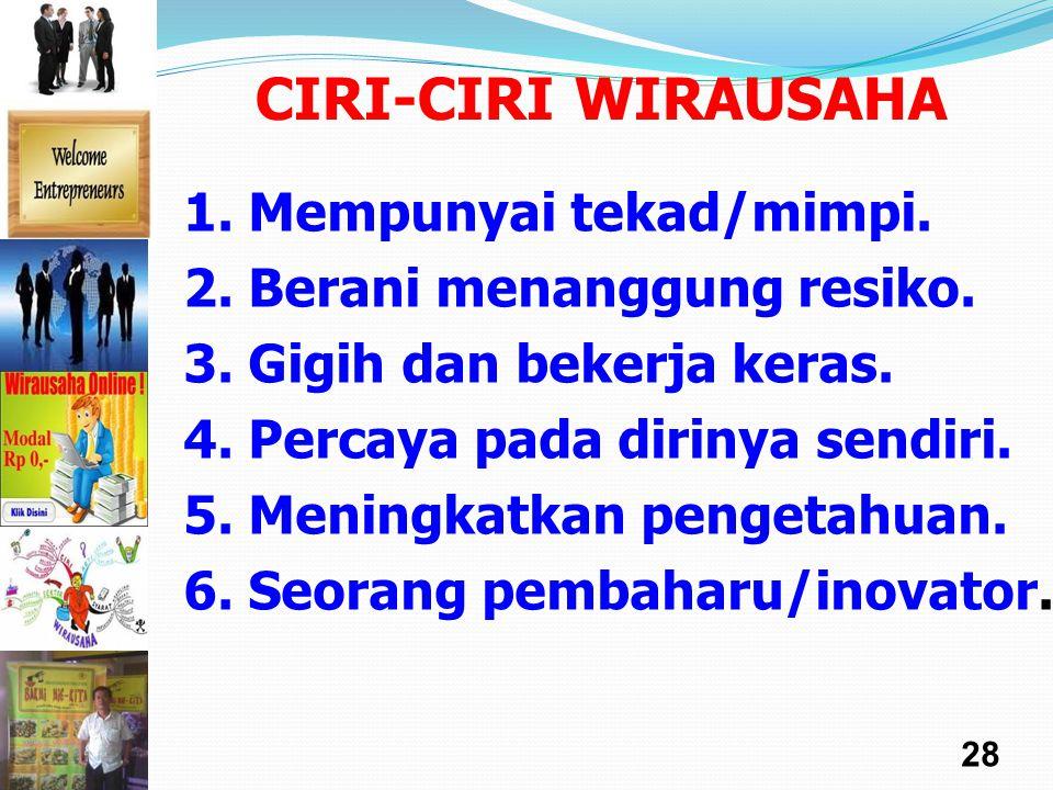 CIRI-CIRI WIRAUSAHA 1. Mempunyai tekad/mimpi.