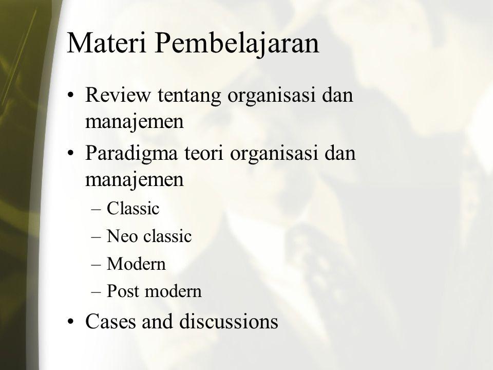 Materi Pembelajaran Review tentang organisasi dan manajemen