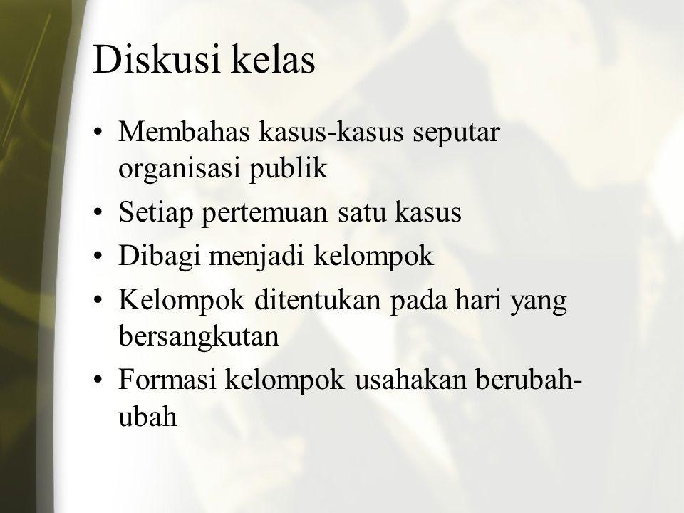 Diskusi kelas Membahas kasus-kasus seputar organisasi publik