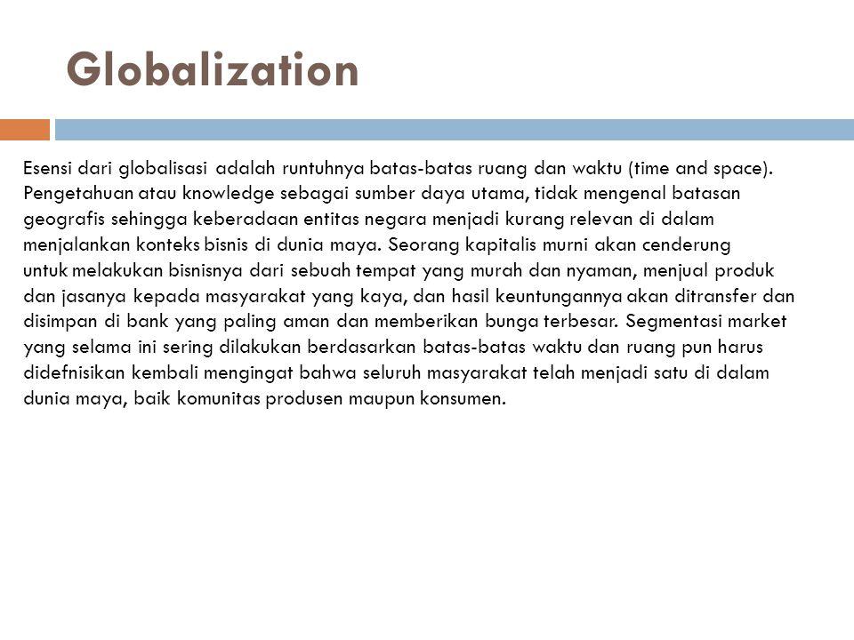 Globalization Esensi dari globalisasi adalah runtuhnya batas-batas ruang dan waktu (time and space).