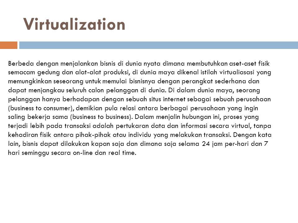 Virtualization Berbeda dengan menjalankan bisnis di dunia nyata dimana membutuhkan aset-aset fisik.