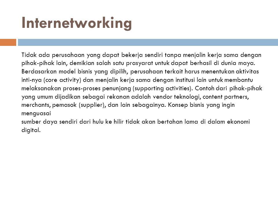 Internetworking Tidak ada perusahaan yang dapat bekerja sendiri tanpa menjalin kerja sama dengan.