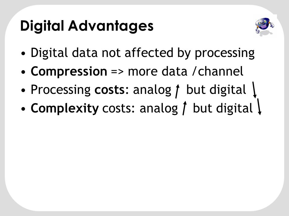 Digital Advantages Digital data not affected by processing