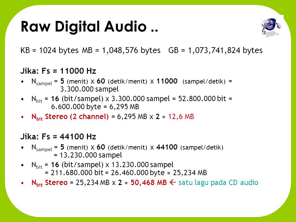 Raw Digital Audio .. KB = 1024 bytes MB = 1,048,576 bytes GB = 1,073,741,824 bytes. Jika: Fs = 11000 Hz.