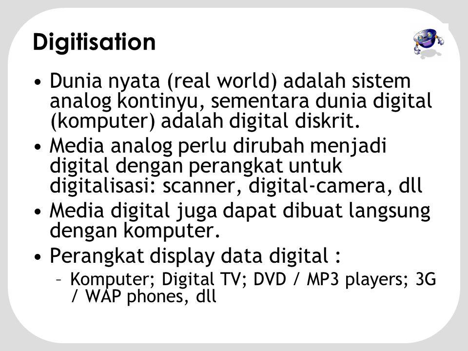 Digitisation Dunia nyata (real world) adalah sistem analog kontinyu, sementara dunia digital (komputer) adalah digital diskrit.