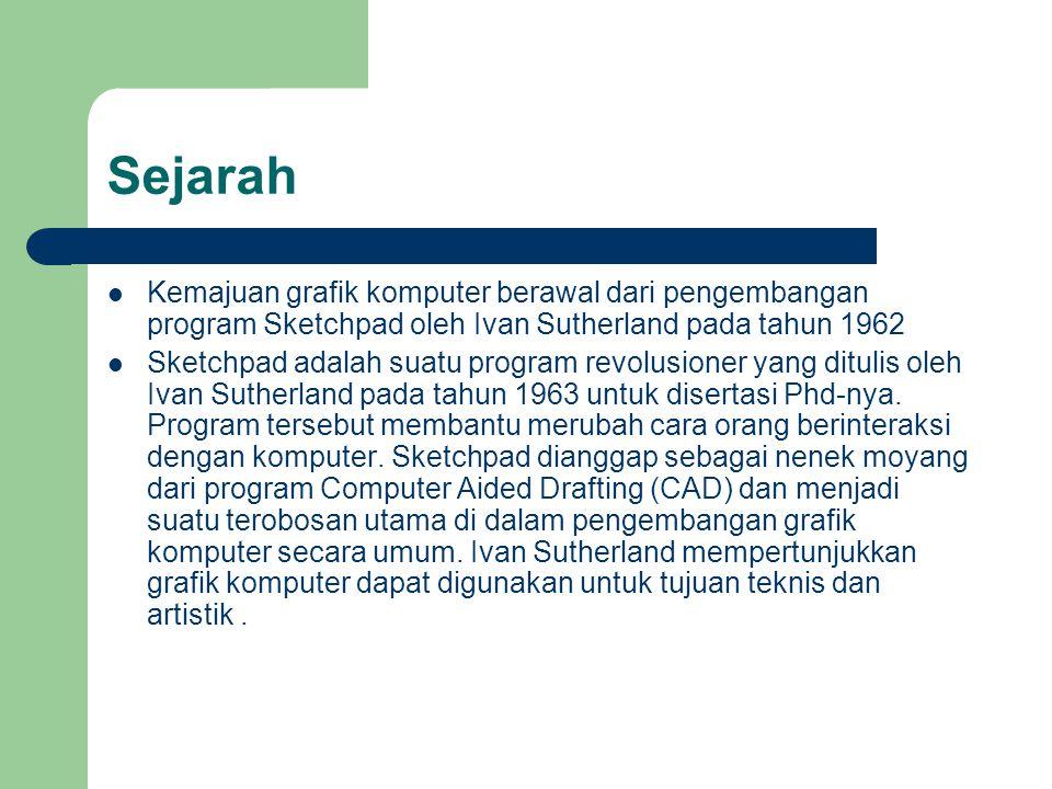 Sejarah Kemajuan grafik komputer berawal dari pengembangan program Sketchpad oleh Ivan Sutherland pada tahun 1962.