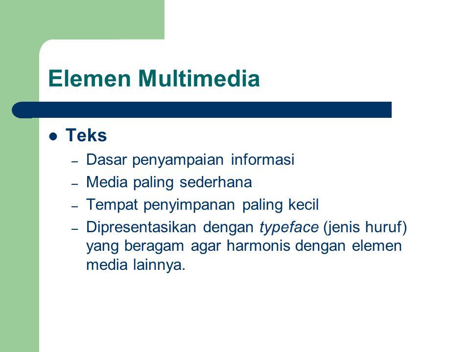 Elemen Multimedia Teks Dasar penyampaian informasi
