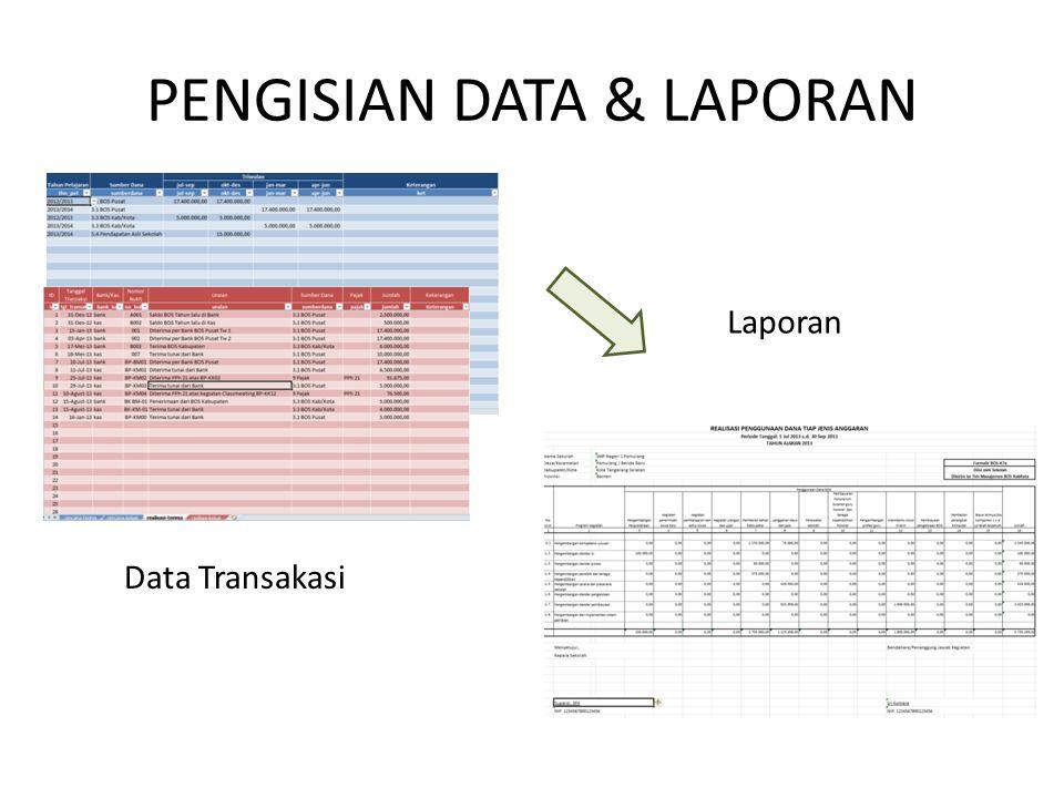 PENGISIAN DATA & LAPORAN