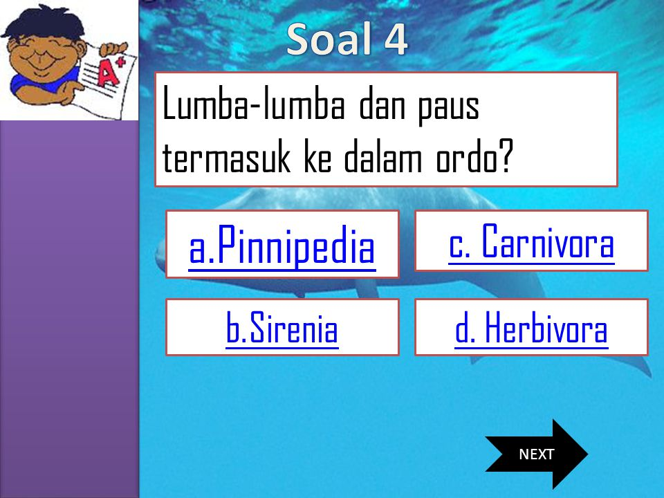 Soal 4 a.Pinnipedia Lumba-lumba dan paus termasuk ke dalam ordo