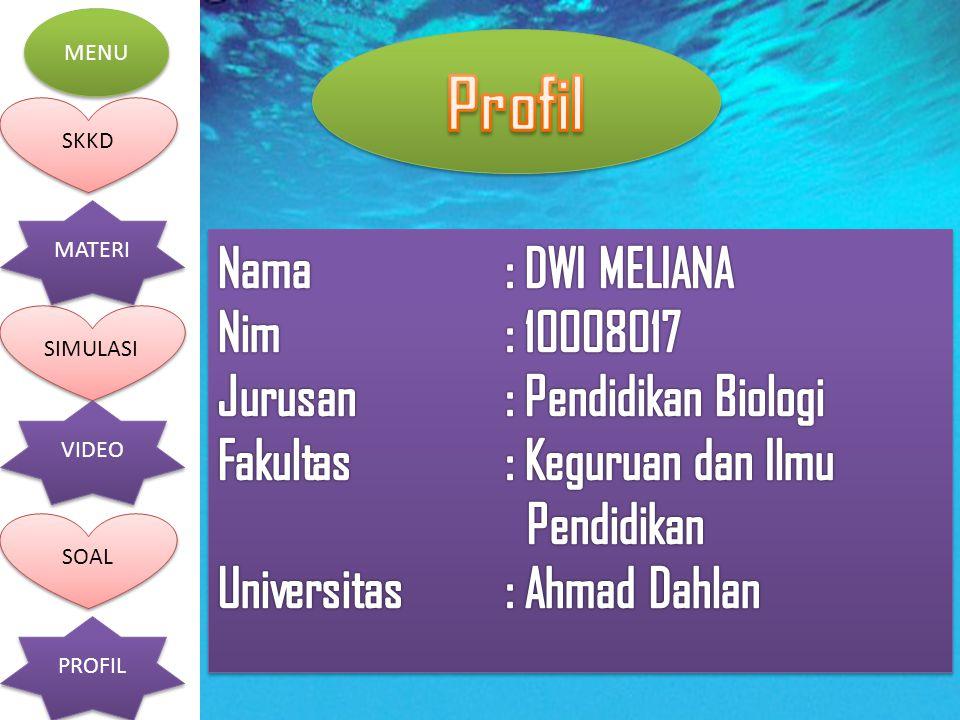 Profil Nama : DWI MELIANA Nim : 10008017 Jurusan : Pendidikan Biologi