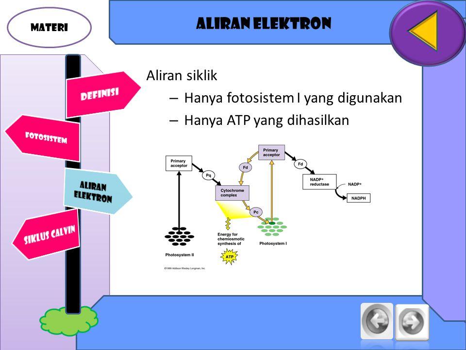 Hanya fotosistem I yang digunakan Hanya ATP yang dihasilkan