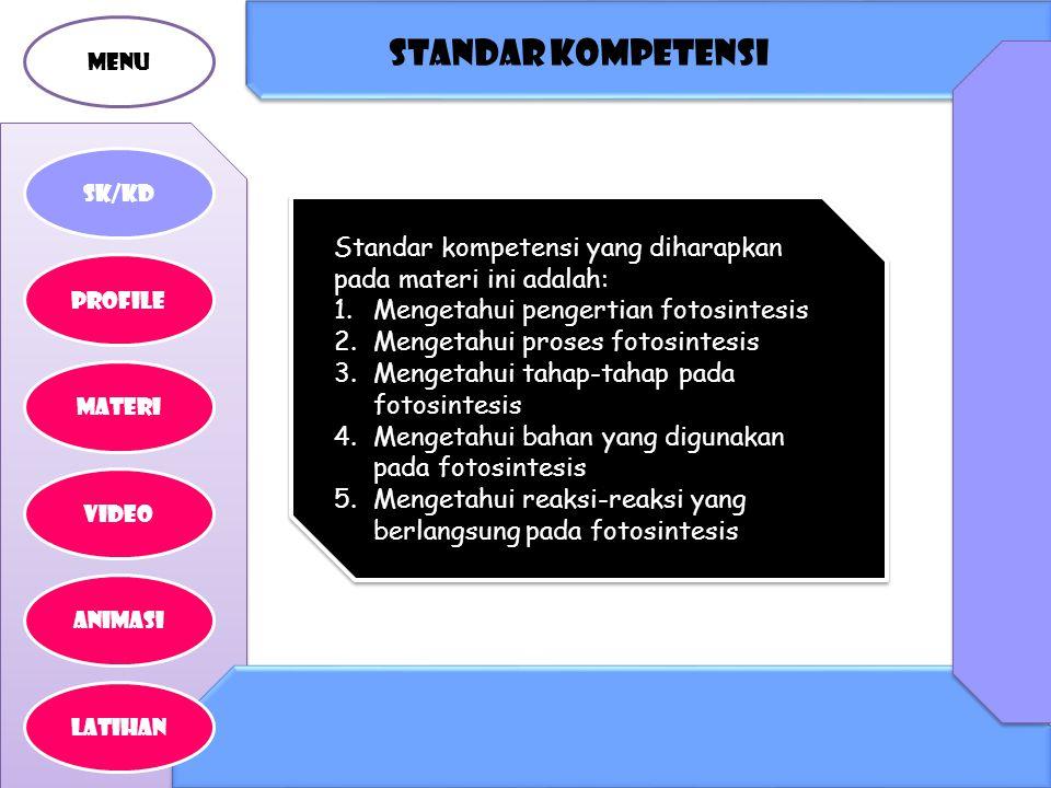 MENU Standar kompetensi. SK/KD. Standar kompetensi yang diharapkan pada materi ini adalah: Mengetahui pengertian fotosintesis.