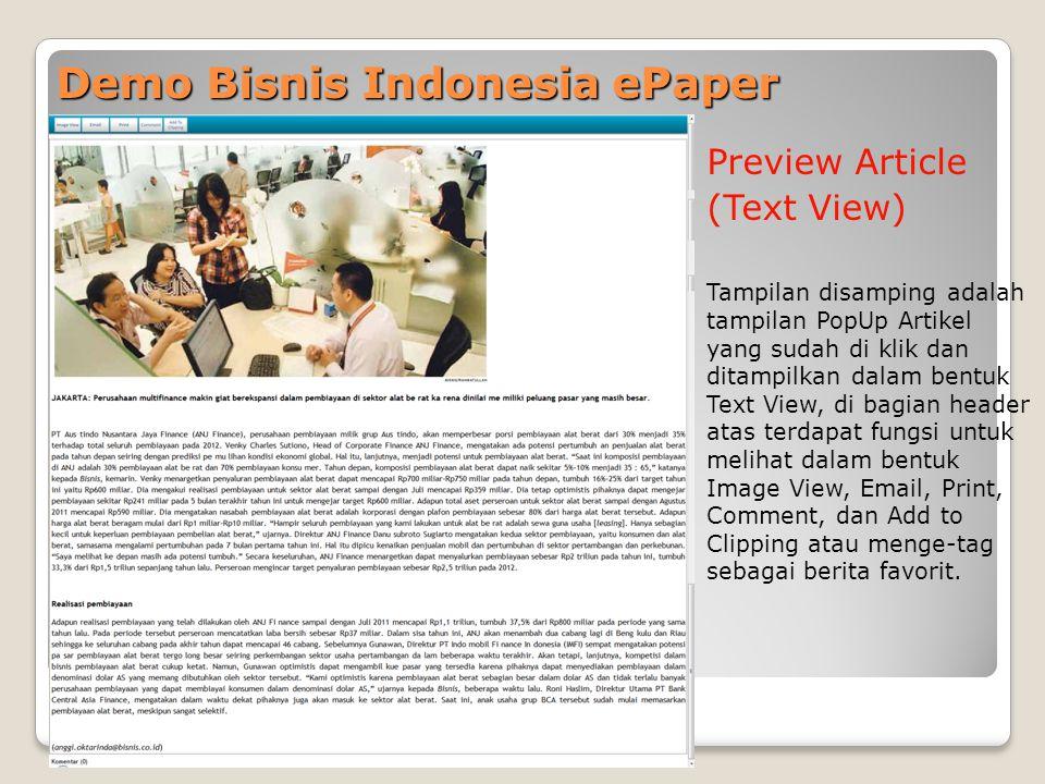 Demo Bisnis Indonesia ePaper