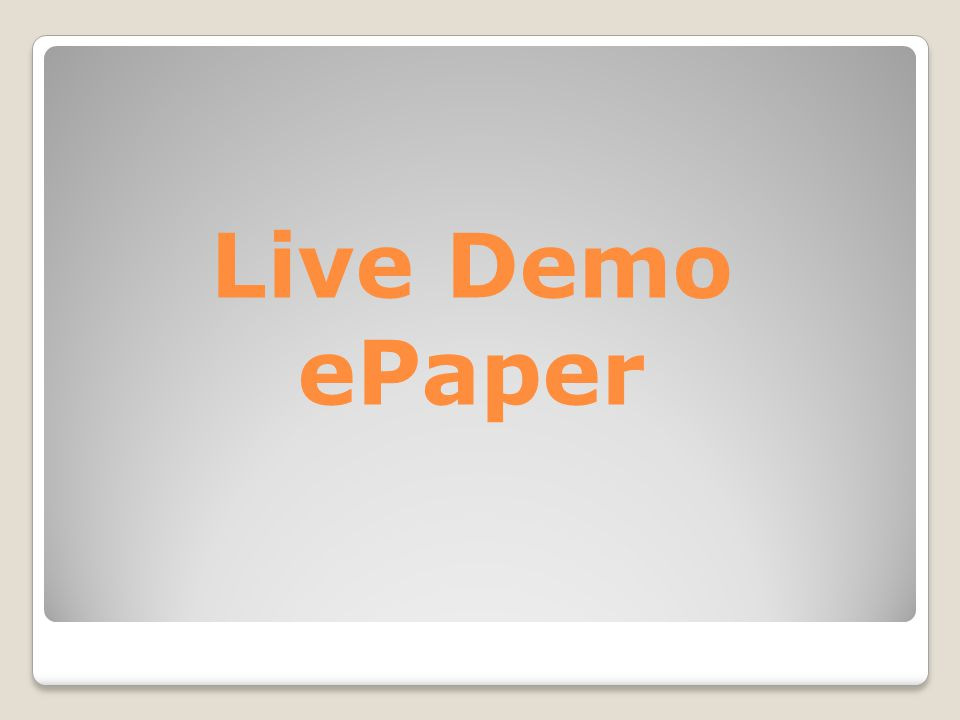 Live Demo ePaper