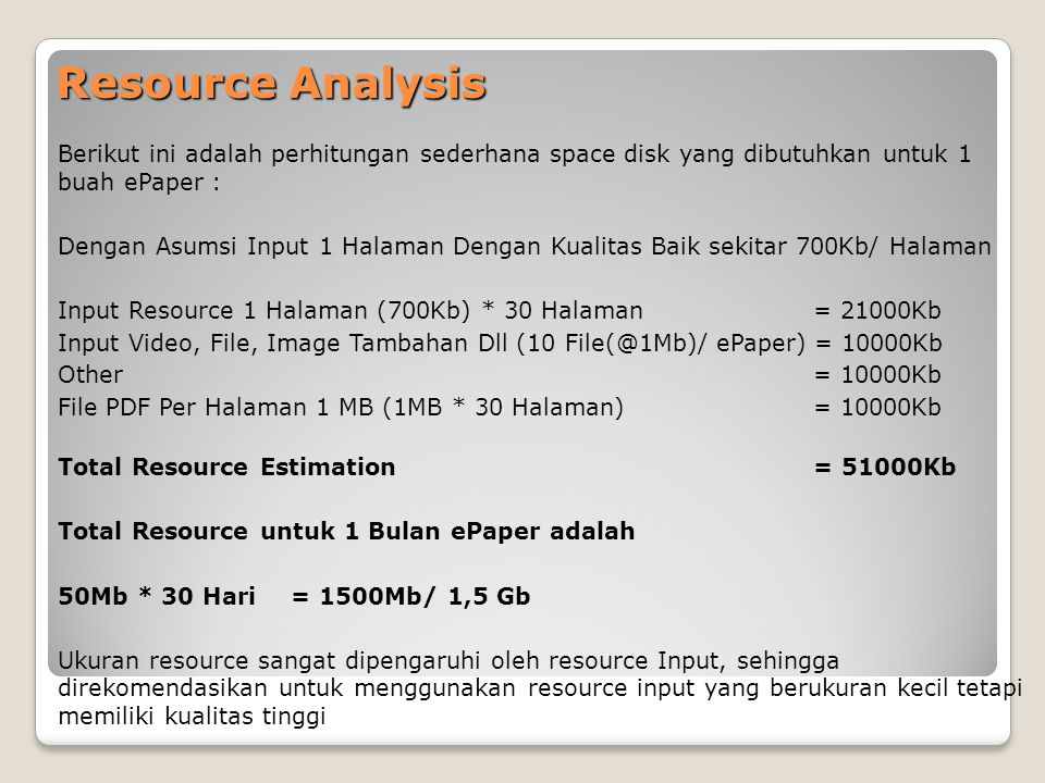 Resource Analysis