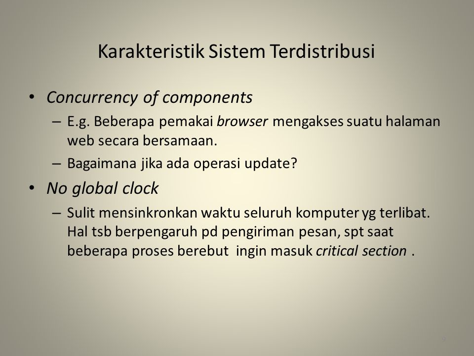Karakteristik Sistem Terdistribusi