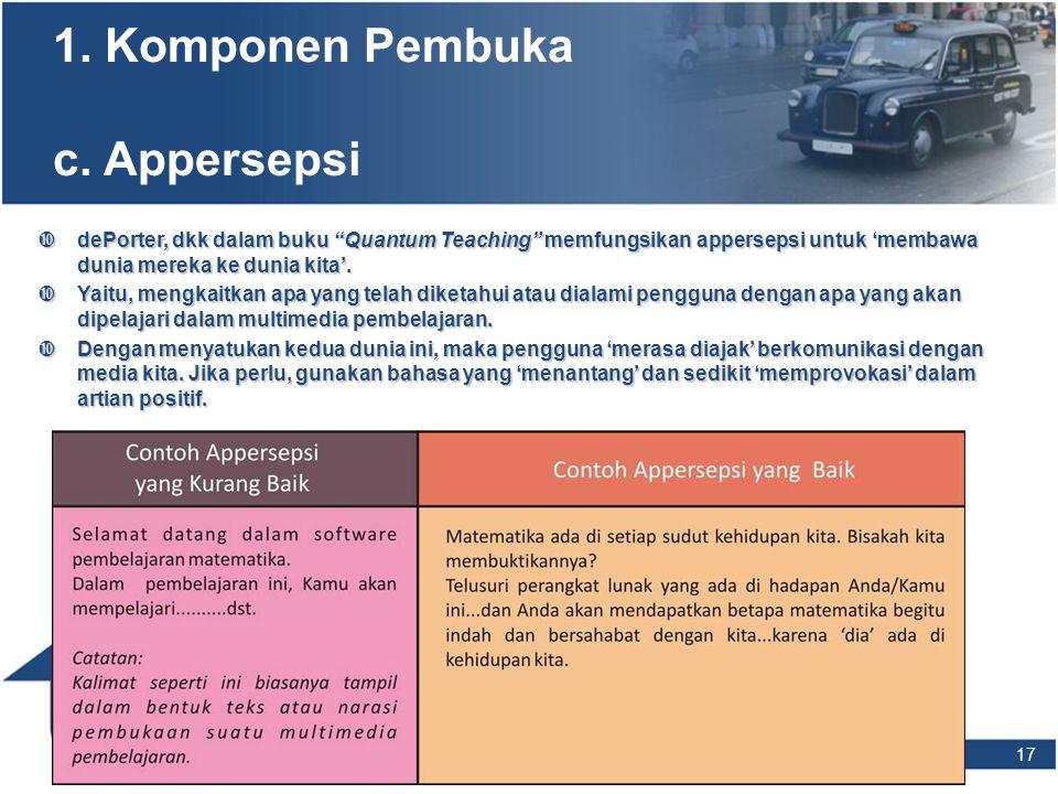 1. Komponen Pembuka c. Appersepsi