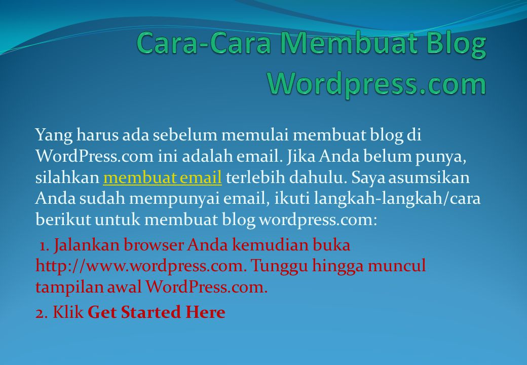 Cara-Cara Membuat Blog Wordpress.com