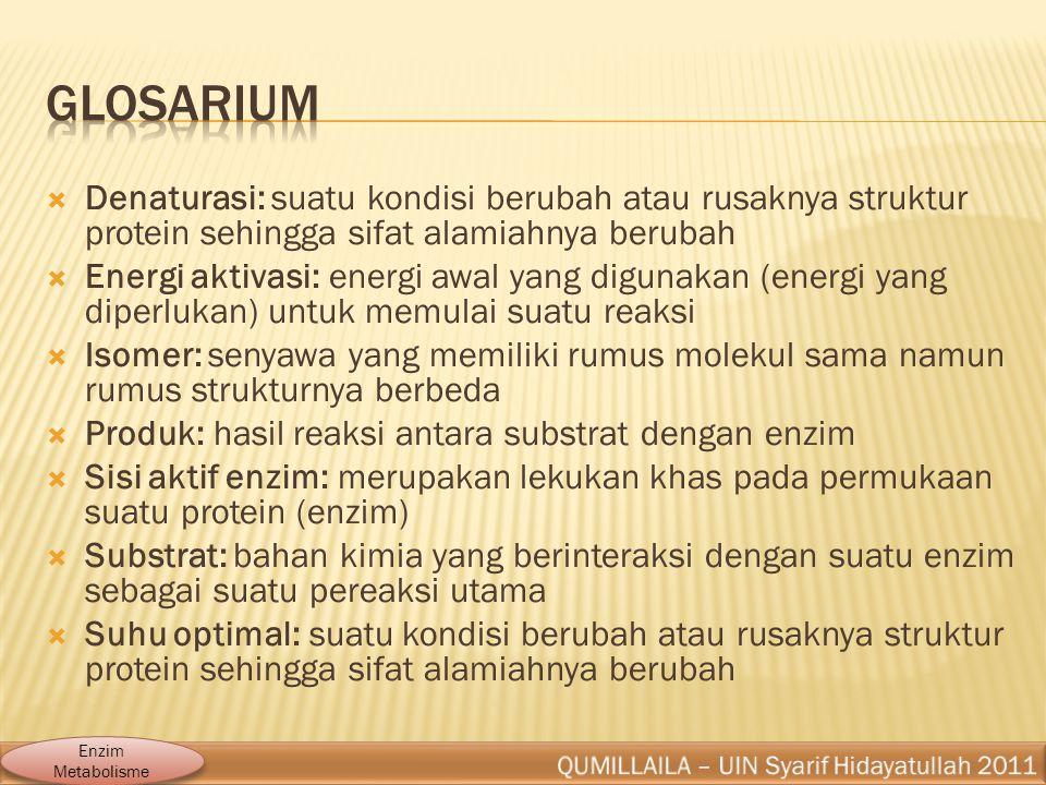 Glosarium Denaturasi: suatu kondisi berubah atau rusaknya struktur protein sehingga sifat alamiahnya berubah.
