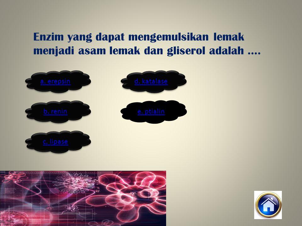 Enzim yang dapat mengemulsikan lemak menjadi asam lemak dan gliserol adalah ….