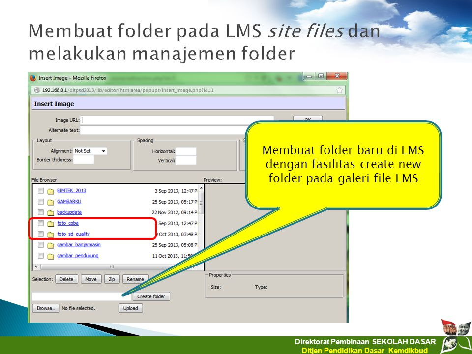 Membuat folder pada LMS site files dan melakukan manajemen folder