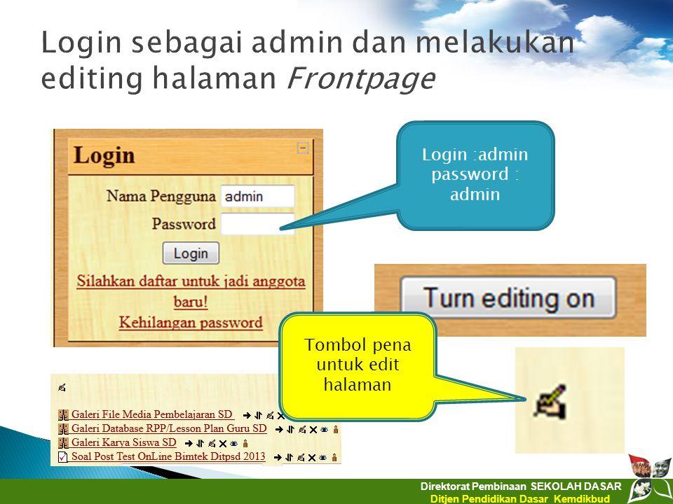 Login sebagai admin dan melakukan editing halaman Frontpage