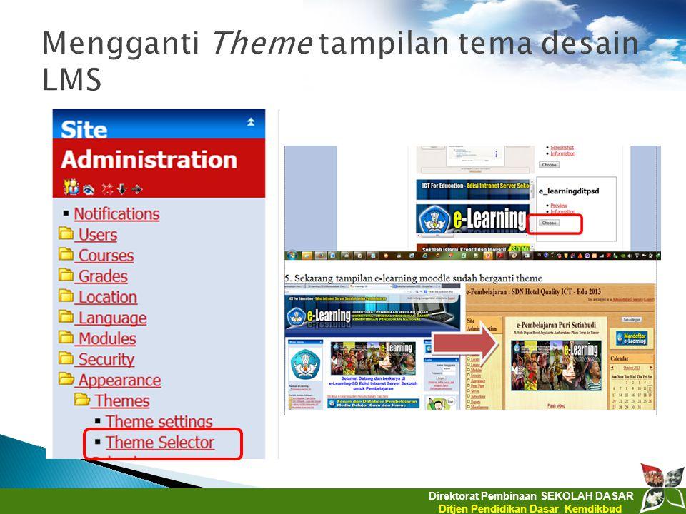 Mengganti Theme tampilan tema desain LMS