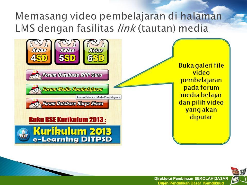 Memasang video pembelajaran di halaman LMS dengan fasilitas link (tautan) media