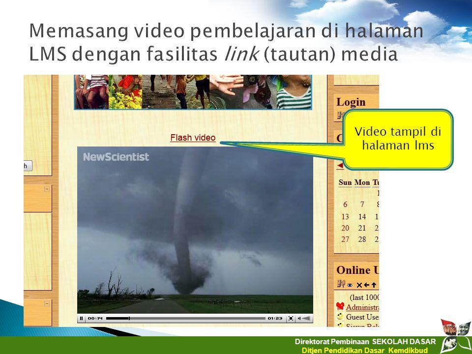 Video tampil di halaman lms